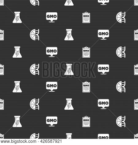 Set Gmo, Genetically Modified Orange, Test Tube And Flask And On Seamless Pattern. Vector