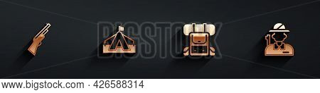 Set Hunting Gun, Tourist Tent, Hiking Backpack And Hunter Icon With Long Shadow. Vector