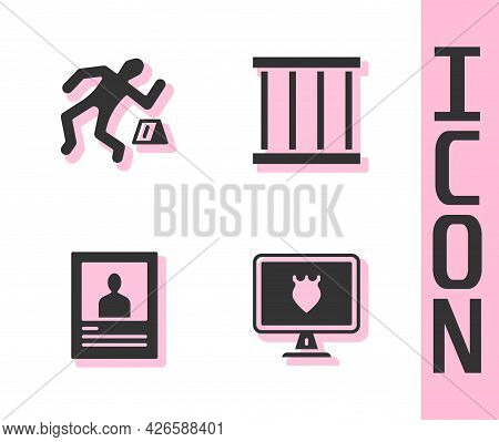 Set Police Database, Crime Scene, Wanted Poster And Prison Window Icon. Vector