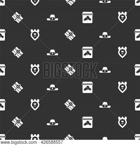 Set Evidence Bag With Gun, Police Badge, Stacks Paper Money Cash And Sheriff Hat On Seamless Pattern
