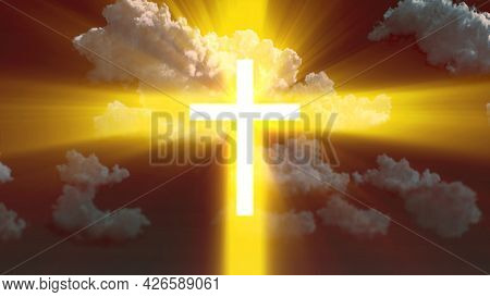 Lighting Christian Cross Symbol On Cloudy Sky Backdrop , Cgi Abstract 3d Rendering