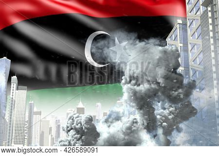 Big Smoke Column In Abstract City - Concept Of Industrial Catastrophe Or Terroristic Act On Libya Fl