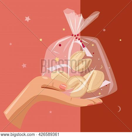 A Gift For Dear People. Cookies With Predictions In A Package On The Palm Of Your Hand. Vector Carto