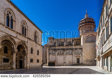 Baroque Building Of The Assumption Cathedral Of Dubrovnik, Croatia. Treasury Inside The Old Town Of