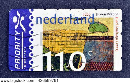 Netherlands - Circa 2000 : Cancelled Postage Stamp Printed By Netherlands, That Shows Dutch Landscap
