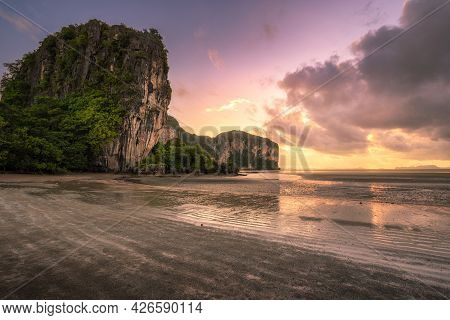The Beautiful Scenery Of The Rajamangala Beach At Sunset Time With Twilight Sky At Trang Province, T