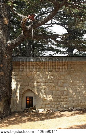 A Light Inside A Church In The Cedars Of God Forest In Lebanon.