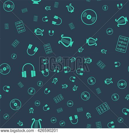 Set Ancient Lyre, Vinyl Disk, Headphones And Sound Mixer Controller On Seamless Pattern. Vector