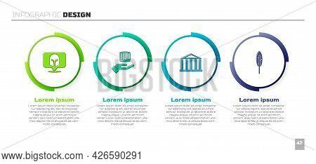 Set Greek Helmet, Ancient Column, Parthenon And Feather Pen. Business Infographic Template. Vector
