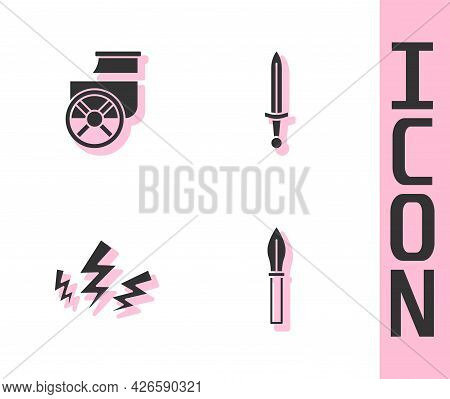 Set Medieval Spear, Ancient Chariot, Zeus And Sword Icon. Vector