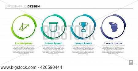 Set Bicycle Frame, Lock, Award Cup With Bicycle And Helmet. Business Infographic Template. Vector