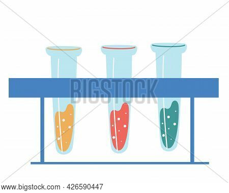 Medical Flasks. Flasks Beakers And Test-tube. Chemical Laboratory Equipment. Vector Illustration Of