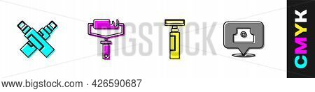 Set Marker Pen, Paint Roller Brush, And Spray Can Nozzle Cap Icon. Vector