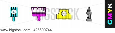 Set Spray Can Nozzle Cap, Paint Brush, And Marker Pen Icon. Vector