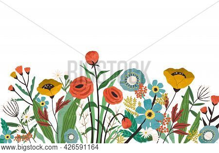 Botanical Border With Spring Blooming Flowers And Leaves Isolated On White Background. Banner With F