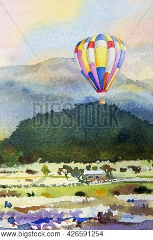Watercolor Landscape Painting Colorful Of Hot Air Balloon On Mountain And Cornfield Emotion Rural So