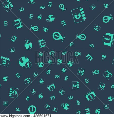 Set Location With Information, Address Book, Information And Laptop On Seamless Pattern. Vector