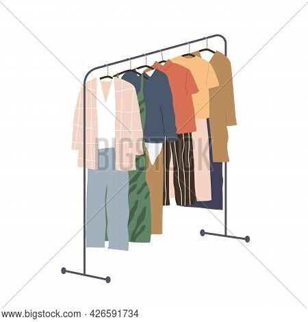 Wardrobe Of Modern Women Clothing Hanging On Floor Hanger Rack. Assortment Of Casual Apparels. Colle