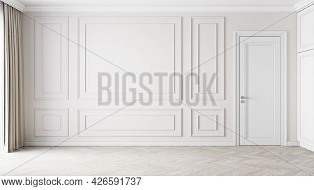 Beige Classic Interior With Moldings, Blank Wall. 3d Render Illustration Mockup.