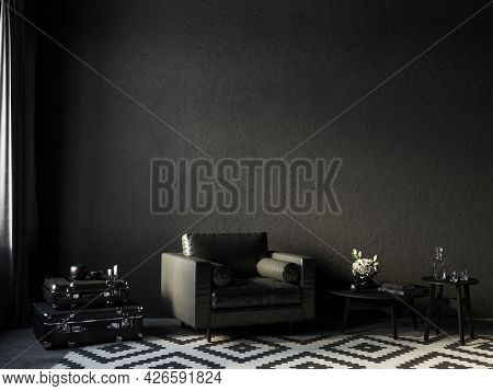 Black Interior With Leather Armchair, Coffee Table And Decor. 3d Render Illustration Mockup.
