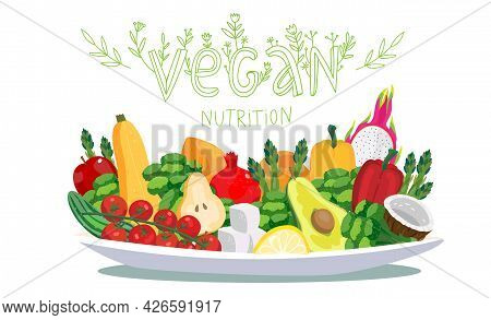 Big Plate With Vegan Foods - Fresh Raw Vegetables And Fruits. Vector Illustration Concept With Flora