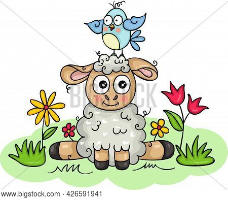Scalable Vectorial Representing A Funny Lamb With Little Bird On Head In The Garden, Element For Des