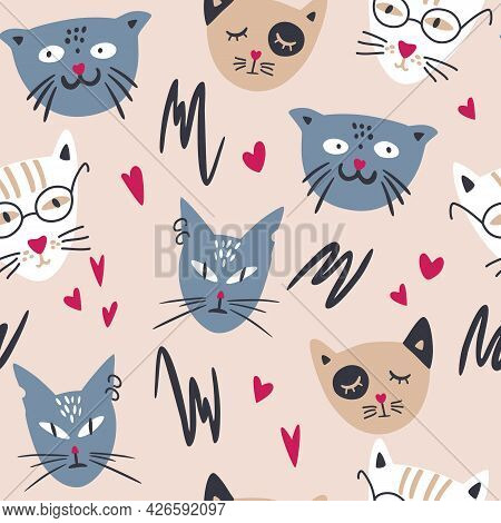 Seamless Pattern With Cute Cats. Hand Drawn Difference Cats Faces Background. Childish Ornament. Per