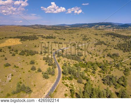 Sealed Winding Road Through Calcareous Limestone Karst Landscape Of Causse Noir In Cevennes France