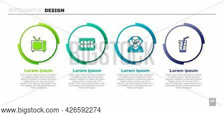Set Retro Tv, False Jaw, Grandfather And Glass With Water. Business Infographic Template. Vector