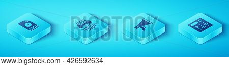 Set Isometric Mov File Document, Vfx, Sound Mixer Controller And Megaphone Icon. Vector