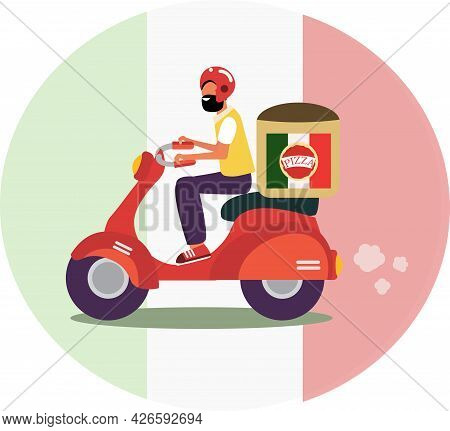 Scooter Guy In Red Helmet Delivering Italian Pizza