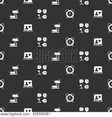 Set Alarm Clock, Online Education, Treadmill Machine And Planning Strategy On Seamless Pattern. Vect