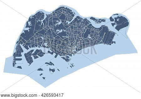 Singapore Map. Detailed Vector Map Of Singapore City Administrative Area. Cityscape Poster Metropoli
