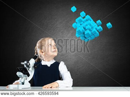 Little Girl Scientist With Microscope On Chalkboard Background With Flying 3d Cubes. Research And Di