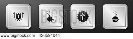 Set Flag With Christian Cross, Magic Staff, Christian And Icon. Silver Square Button. Vector