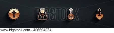Set Christian Cross, Monk, And Religious In Heart Icon With Long Shadow. Vector