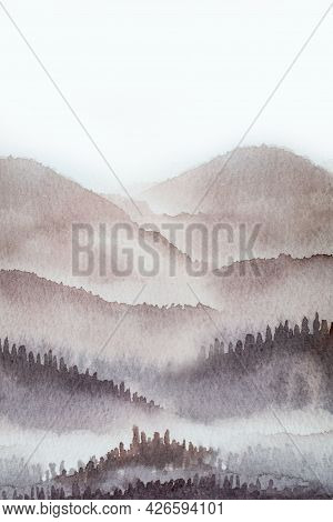 Watercolor Mountain Background Drawn By Brush Paints Nature On Paper Texture, Pastels Vintage Wallpa