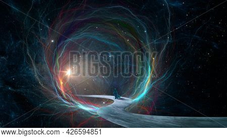 Magician Walking On Pathway In Glowing Fractal Tunnel With Light, Stars And Outer Space Nebula. Drea