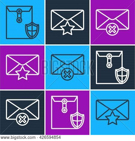 Set Line Envelope With Shield, Delete Envelope And Envelope With Star Icon. Vector