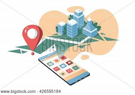 Smartphone Application With City Map Vector Illustration. Route Plan With Red Pin Flat Style. Online