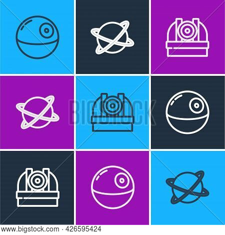 Set Line Death Star, Astronomical Observatory And Satellites Orbiting The Planet Icon. Vector