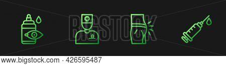 Set Line Abdominal Bloating, Eye Drop Bottle, Male Doctor And Syringe. Gradient Color Icons. Vector