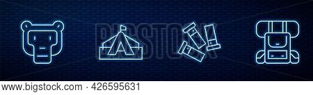 Set Line Cartridges, Monkey, Tourist Tent And Hiking Backpack. Glowing Neon Icon On Brick Wall. Vect