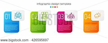 Set Line Off Road Car, Hiking Backpack, Tourist Tent And Cloud With Rain. Business Infographic Templ