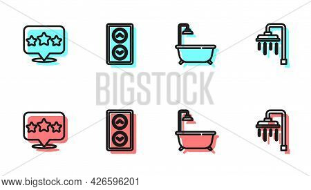 Set Line Bathtub With Shower, Five Stars Rating Review, Lift And Shower Icon. Vector
