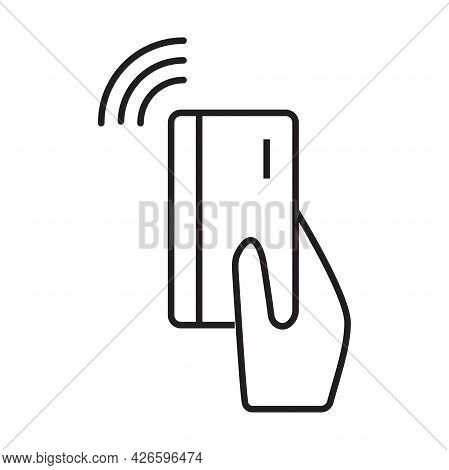 Contactless Payment Icon Vector Near-field Communication (nfc) Card Technology Tap To Pay Concept Fo