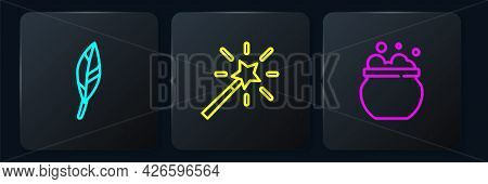 Set Line Magic Feather, Witch Cauldron And Wand. Black Square Button. Vector