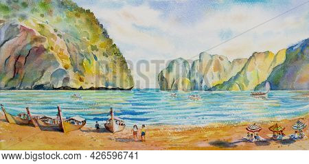 Colorful Summer Watercolor Painting Seascape On Paper Of Maya Bay In Phi Phi Island With Tourism Fam
