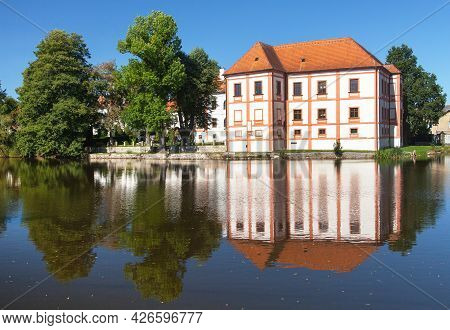 Horni Cerekev Renaissance And Baroque Castle Standing Above The Water Surface. Bohemian And Moravian