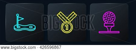 Set Line Golf Hole With Flag, Ball On Tee And Medal Golf. Black Square Button. Vector